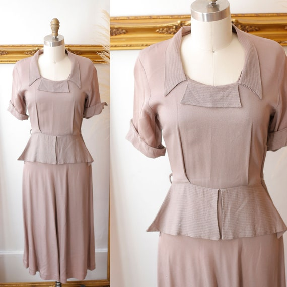 1940s soft brown crepe dress // 1940s peplum dress // vintage 1940s dress