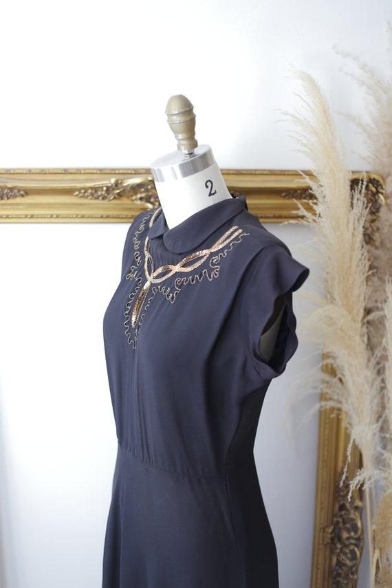 1940s black sequin dress // 1940s little black dr… - image 5