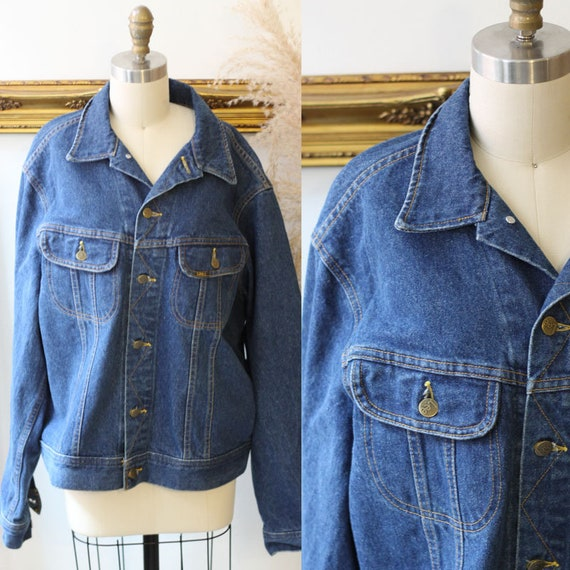 1980s dark wash LEE Jean Jacket // Deadstock LEE jean jacket // vintage denim jacket