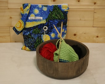 Knitting Bags Pouch with Crochet holders Yarn holders Hole for yarn to do Knitting Cotton broad cloth