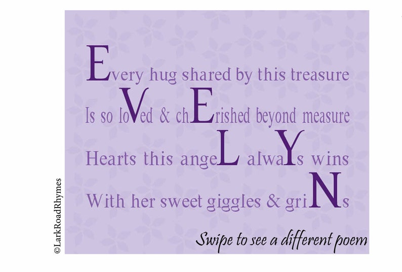 Gifts For Baby Girl, 8x10 Baby Name Gifts Personalized, Gifts For Kids 1st  Birthday Girl, Baby Shower Gifts For Girl, Unique Poem, Evelyn