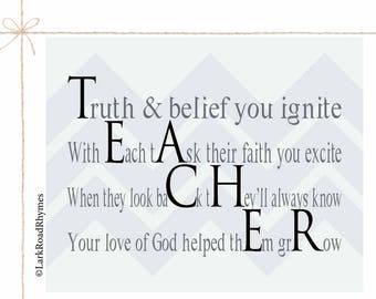 Bible Teacher Sunday School Teacher Gift Religious Teacher Catholic School Wall Art Word Art Chevron Wall Decor 8x10 Poem