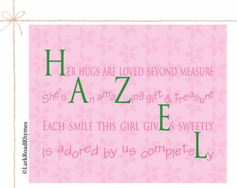 Baby girl room name gifts personalized 1st birthday gifts name gifts personalized baby gifts kids art prints personalized baby name unique baby girl gifts baby girl room name art 8x10 hazel negle Choice Image