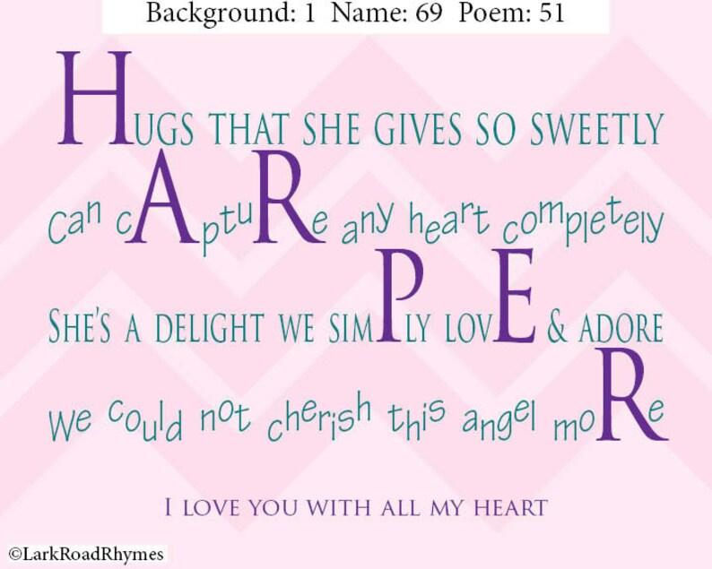 Baby Meisje Cadeau Voor Baby Shower 8x10 Baby Naam Gedicht Gepersonaliseerde Kwekerij Muur Kunst Unieke Eerste Verjaardag Aanwezig Harper