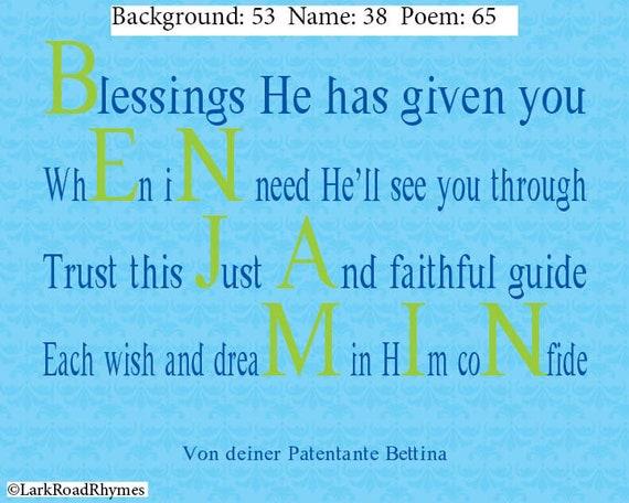 Religieuze Wall Art Voor Peetzoon Doopsel 8 X 10 Gedicht Afdrukken Met De Naam Van De Jongen Van De Baby Doop Aandenken Voor Benjamin