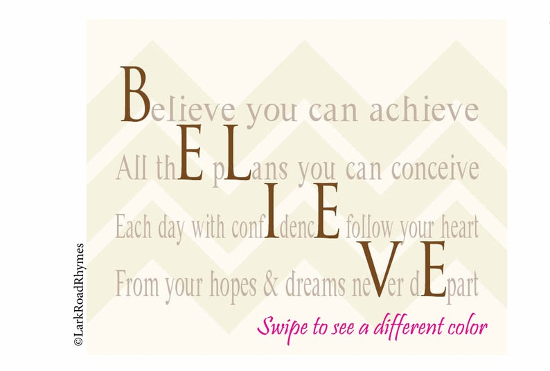 Believe In Yourself Poem Print, 8x10 Believe Wall Decor Inspirational For  Her For Kids Inspirational Poems Quotes to Motivate 8x10