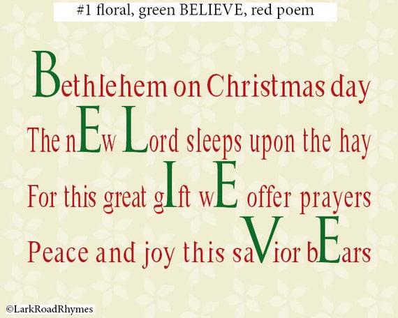 Glaube Krippe Gedicht 8 x 10 Weihnachten druckbare Wandkunst | Etsy