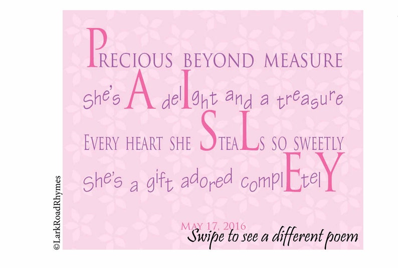 Baby Name Pictures, 8x10 Granddaughter Gift, First Birthday Gift Girl,  Personalized Nursery Art, Baby Shower Poem, Free Shipping, Paisley