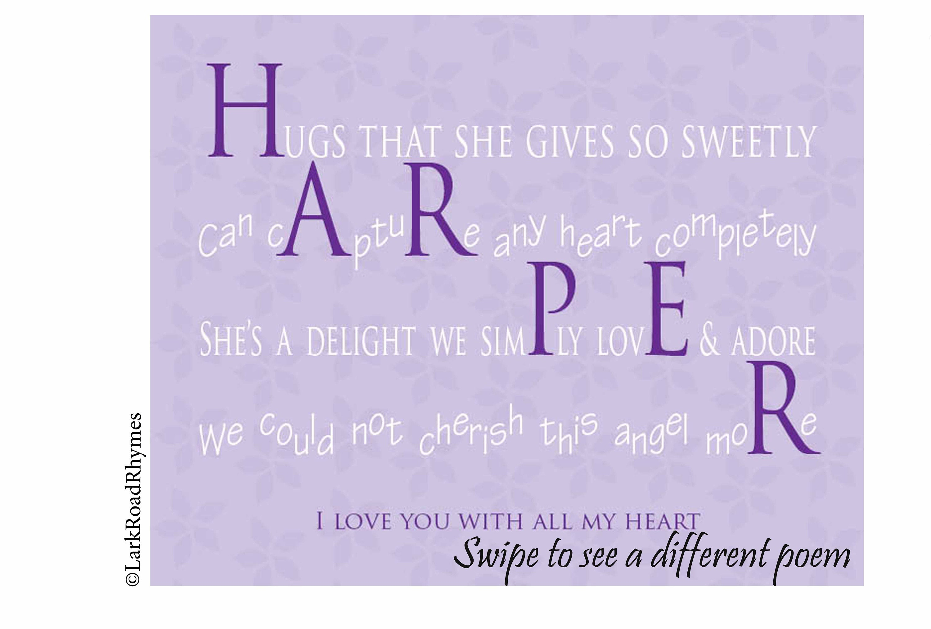 Baby Girl Gift For Baby Shower, 8x10 Baby Name Poem, Personalized Nursery  Wall Art, Unique First Birthday Present, Harper