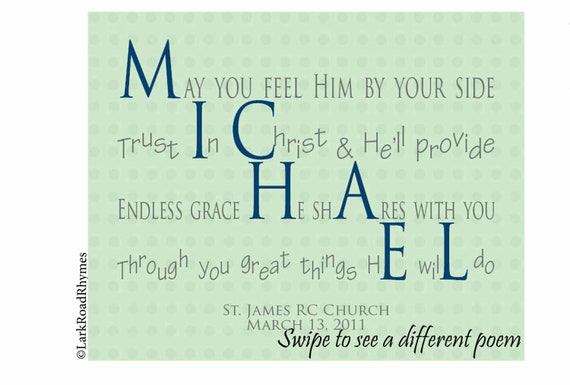 Persoonlijk Doop Geschenk Jongen 8 X 10 Afdrukbare Naam Gedicht Voor Kleinzoon Doop Inspirerende Boodschap Voor Michael