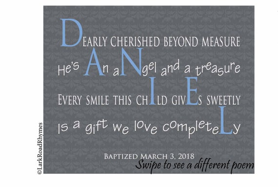 Eerste Verjaardag Jongen Geschenk 8x10 Gepersonaliseerde Woordkunst Voor Kwekerij Baby Naam Gedicht Neef Geschenken Kleinzoon Geschenk Daniel