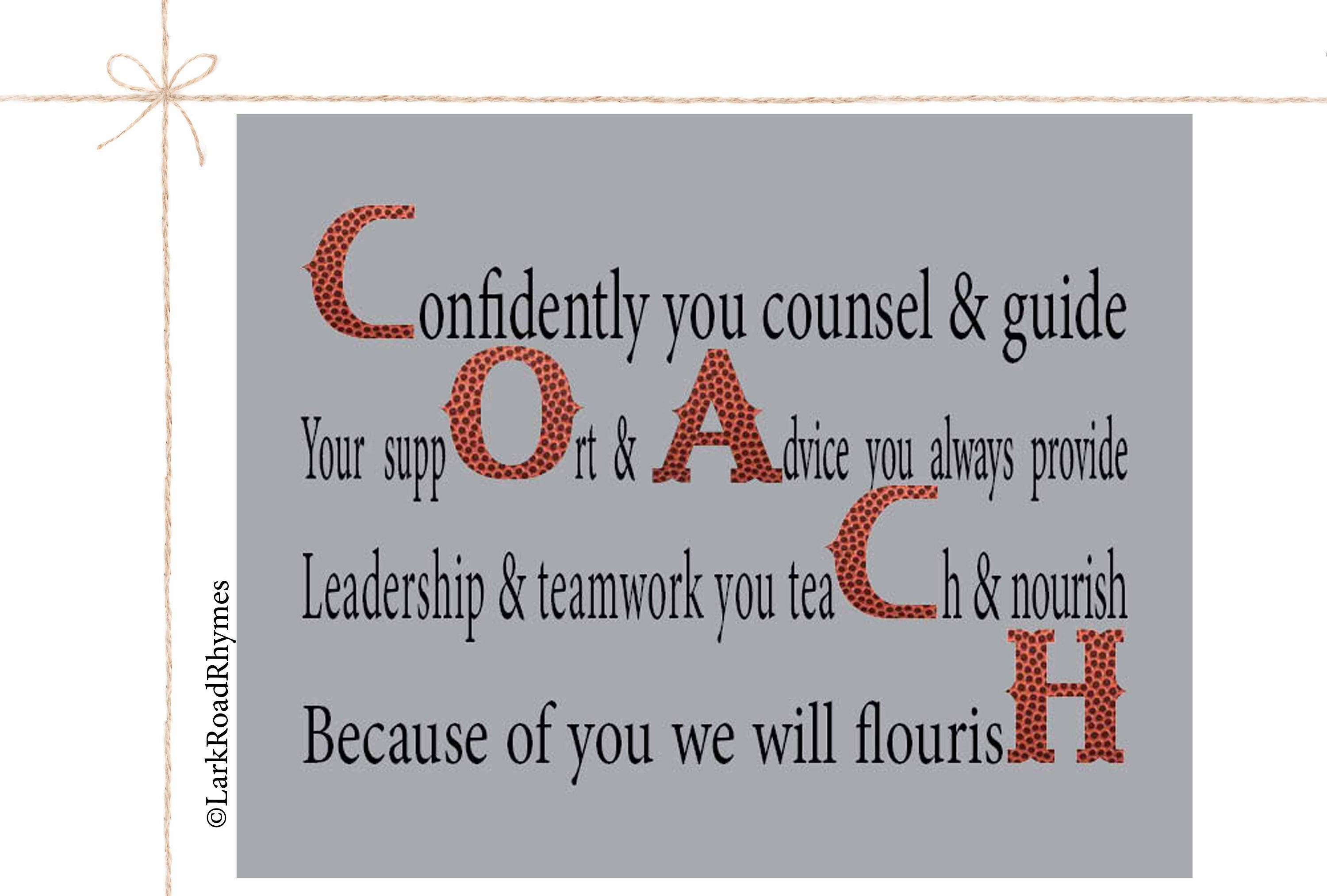 Football Coach Gift 8x10 American Football Wall Art Poem Etsy