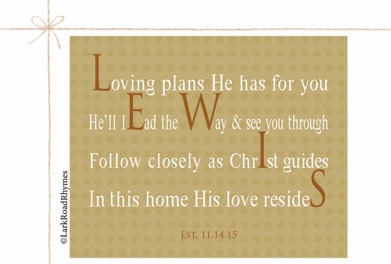 Christian Wall Art Last Name Gifts Religious Decor