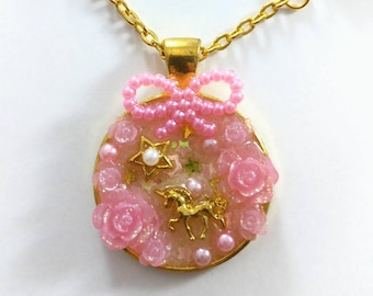 Cute Unicorn Necklace, Valentines Gift, Magical Girl Necklace, Pink Resin Necklace, Kawaii Magic Pendant, Sweet Lolita Sparkly Necklace