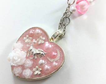 Cute Unicorn Necklace, Valentines Gift, Magical Girl Necklace, Pink Resin Necklace, Kawaii Magic Pendant, Sweet Lolita, Sparkly Necklace