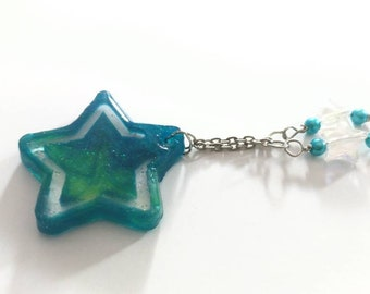 Blue Green Star Necklace, Resin Star Pendant, Cute Space Jewelry, Sparkly Resin, Star Shaped Pendant, Star Jewelry
