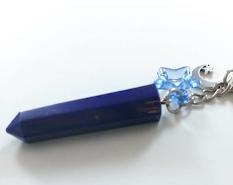Crystal Keychain, Witch Crystal Wand, Resin Crystal, Magic Crystal Accessory, Sparkly Resin Keychain, Blue Crystal, Starry Night Keychain