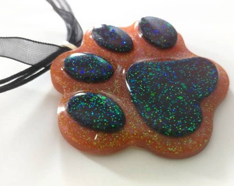 Cute Puppy Paw Necklace, Black and Orange Resin Necklace, Furry Necklace, Paw Jewelry, Kawaii, Gothic Necklace, Animal Pendant, Halloween