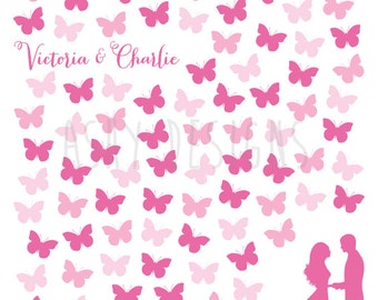 Custom Printable Poster Colourful Keepsake Idea Wedding Guest Book Alternative Pink Butterflies Any Number of Guests Available GBB03