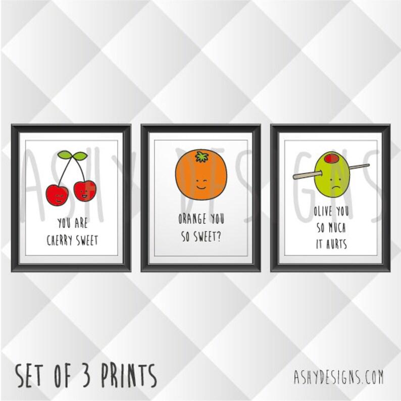 SET OF 3  8x10 Prints  Cute Fun Fruit Vegetable Puns  Wall image 0