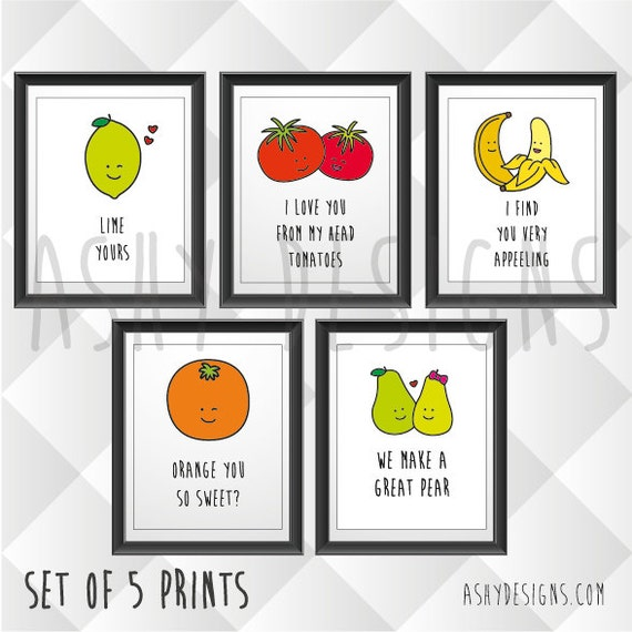 SET OF 5 Fruit Veggie Quotes Funny Puns For Boyfriend