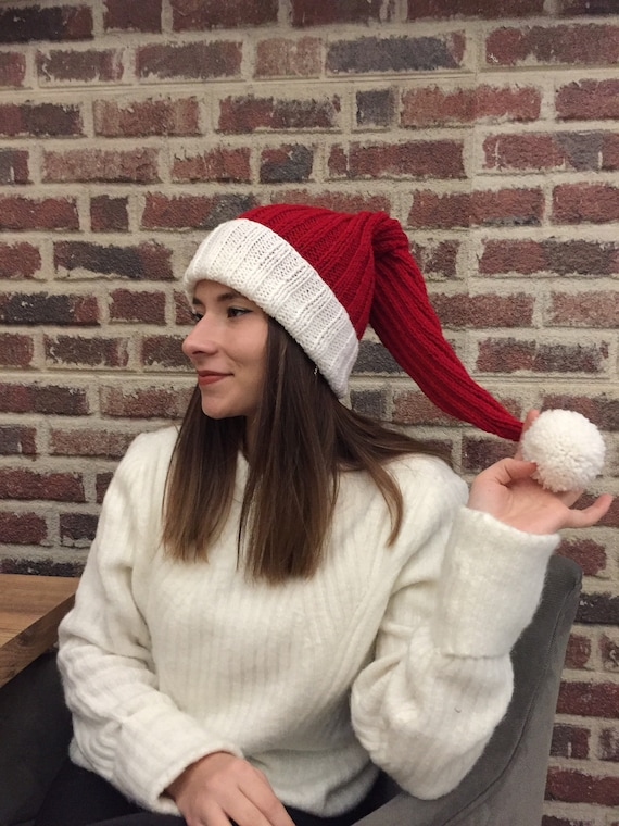 1ada9b4610f Christmas Long Tail Elf Hat with Pompom Christmas Hats Adult