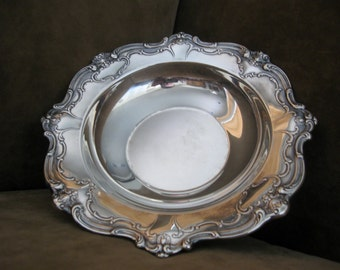 Ornate Medium Gorham Original Silver Plate Hollowware Cartouche Chantilly Bon Bon Bowl