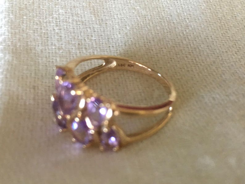 Vintage Solid 10K Yellow Gold Amethyst Signed Town and Country Ring Size 7.75