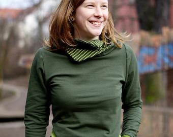2983c8978ee737 Frauen-Kapuzenpulli, vorteilhaft körperbetont, mit Taschen, aus Öko-Sweat,  kuscheliger Damen-Hoodie, olivgrün, olivegrün-grün gestreift