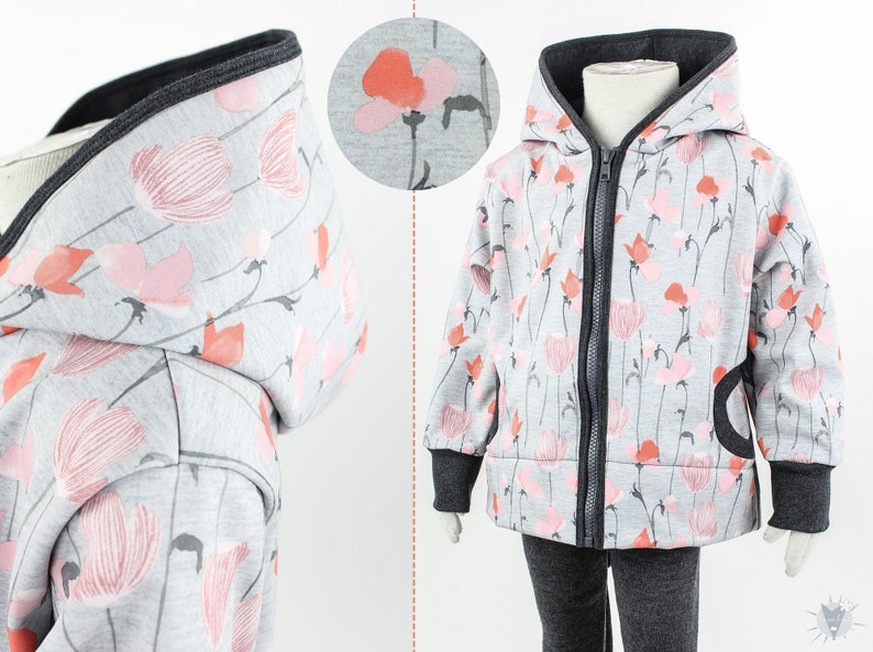 Children/'s softshell jacket light grey mottled with poppies