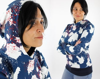 Women's summer sweater blue with color spots