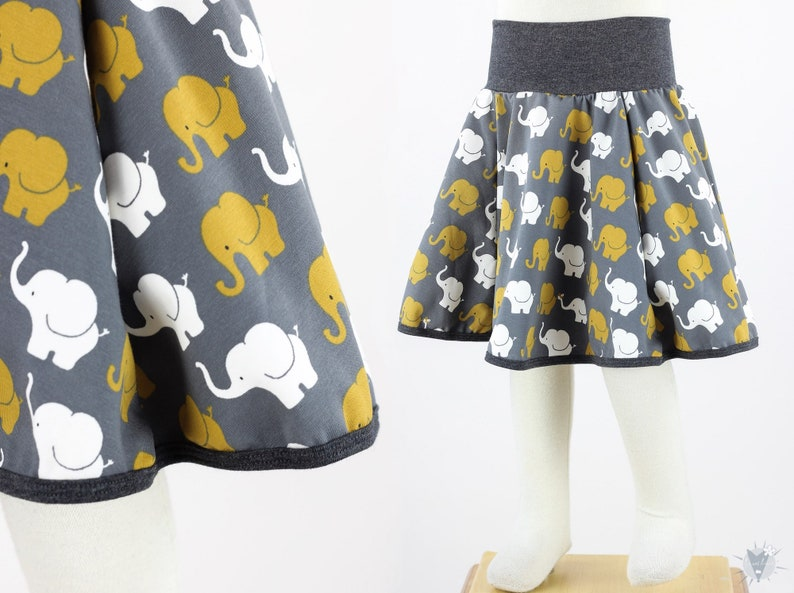 Children/'s plate skirt with elephant on grey from light eco jersey grows long with