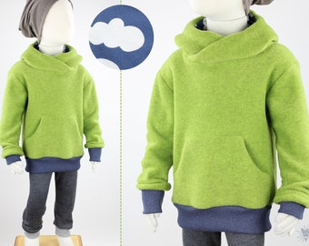 green fleece sweater with clouds on blue