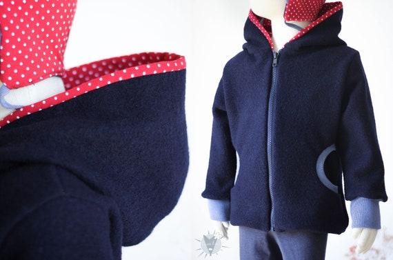 5bf7d8a642af warme Wolljacke für Kinder mit Taschen und Kapuze, gefütterte Winterjacke  aus Öko-Wollwalk, wächst lange mit vom Mantel zur Jacke