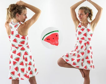 Skater dress sleeveless white with melon pattern