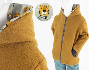 Children's wool jacket ochre with tigers