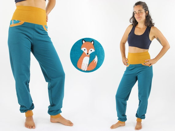 Sweat jogging pants petrol with foxes