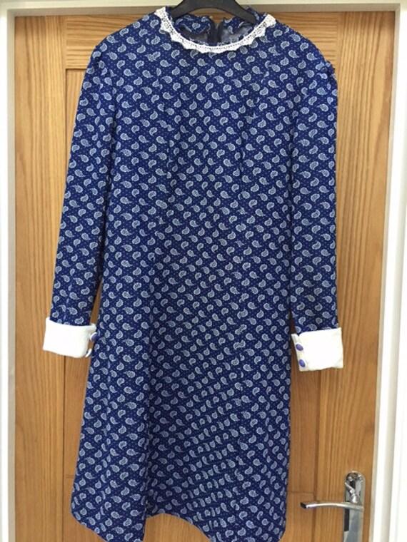 American Vintage paisley royal blue A line dress