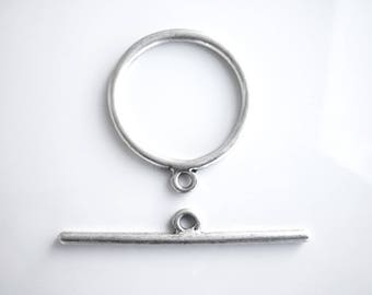 Toggle clasp, toggle clasp, silver plated brass, 30mm, N7, 1pc