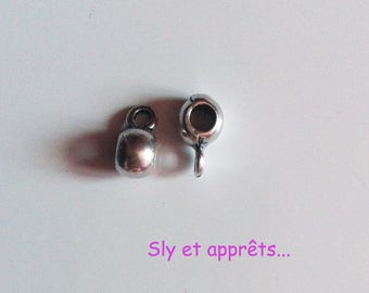 4 clips for cord 3mm silver plated charms