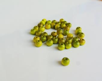 set of 50 green 6mm wood beads