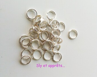 Set of 100 double rings in silver plated brass 6mm