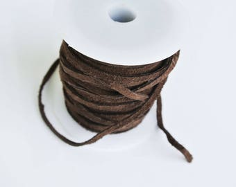 Brown suede, leather thread, 1 m 0.8x3mm