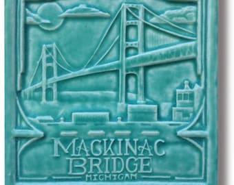 "Mackinac Bridge 6x6"" Art Tile"