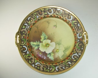 NIPPON NORITAKE Cake PLATE, Lenten Rose, Gold Beaded, Hand Painted, Early 20th Century