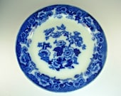FLOW BLUE PLATE Platter, Floral, Victorian Pottery Porcelain, English Transferware, Furnival , Blue White, 19th Century