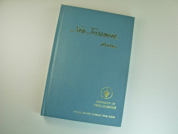 1975 GIDEONS NEW TESTAMENT with Psalms, King James Version Bible, Blue  Hardcover, Vintage