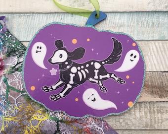 Shadow The Dog - Spooky Gang Halloween Hanging Decoration - Wooden Pumpkin Hanging Ornament - Handmade Halloween Dog Ornament