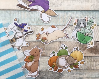 October Rat Stickers - Set Of 6 Glossy Rat Stickers - Fun Pet Rat Stickers - Fancy Rat Gift And Stationery