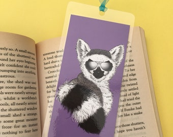 Ziggy the ring-tailed lemur handmade laminated bookmark, summer reading, book lover gift